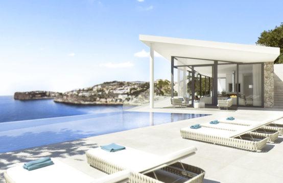 Port Andratx: Einmaliges Meerblick Grundstück mit modernem Projekt und eingereichter Lizenz zu verkaufen