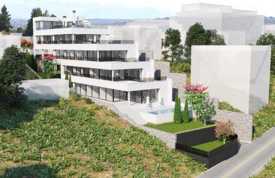 Palma de Mallorca: Terrain avec permis pour 4 appartements avec piscine et vue sur la mer à Sant Augustin, à vendre